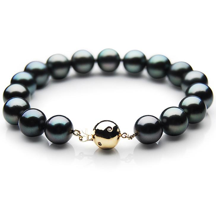 TB030 (AAA 11-13 mm Tahitian Black Pearl Bracelet  Gold Diamond clasp 18cm )