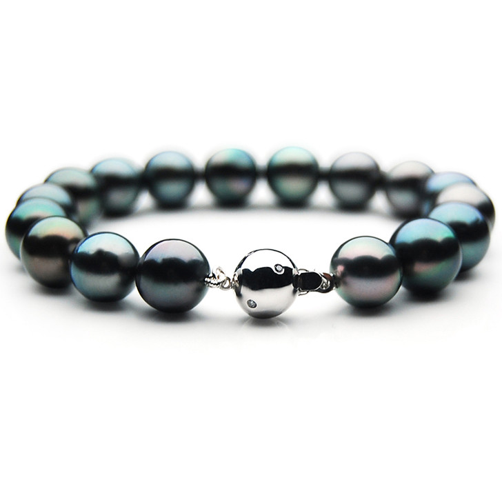 TB031 (AAA 11-13 mm Tahitian Black Pearl Bracelet  W gold Diamond clasp 21cm )