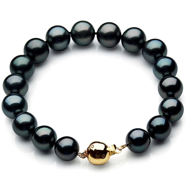 TB032 (AAA 11-13 mm Tahitian Black Pearl Bracelet gold Diamond clasp 21cm )