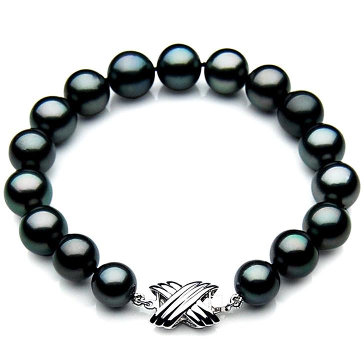 TB033 (AAA 11-13 mm Tahitian Black Pearl Bracelet 18k White gold clasp 18cm )