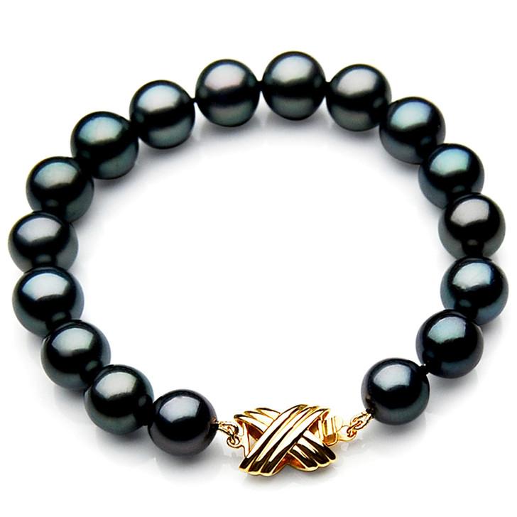TB034 (AAA 11-13 mm Tahitian Black Pearl Bracelet Yellow gold clasp 18cm l)
