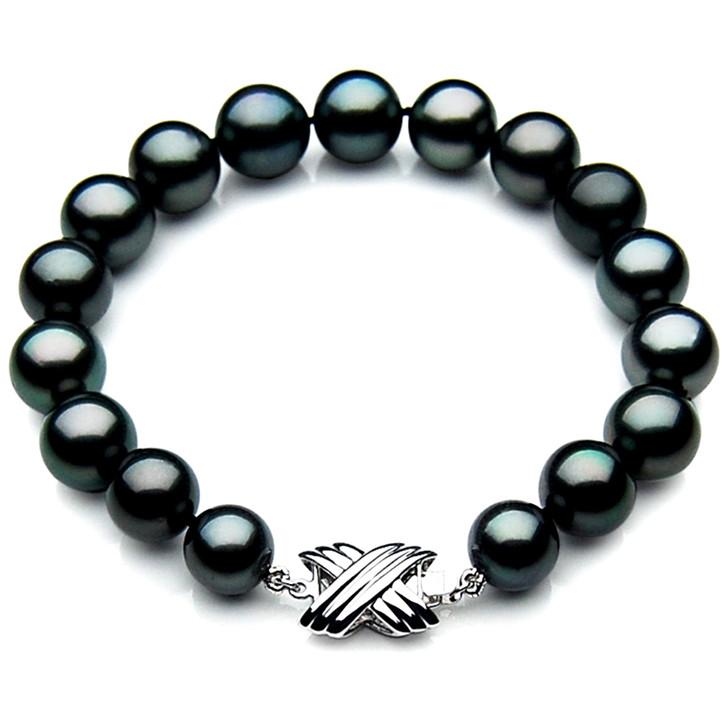 TB035 (AAA 11-13 mm Tahitian Black Pearl Bracelet 18k White gold clasp 21cm )