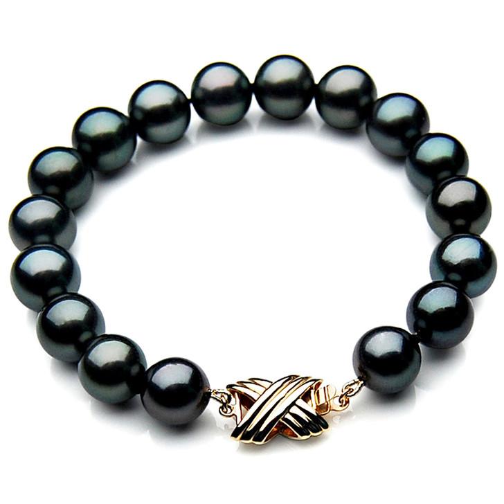 TB036 (AAA 11-13 mm Tahitian Black Pearl Bracelet 18k Yellow gold clasp 21cm )