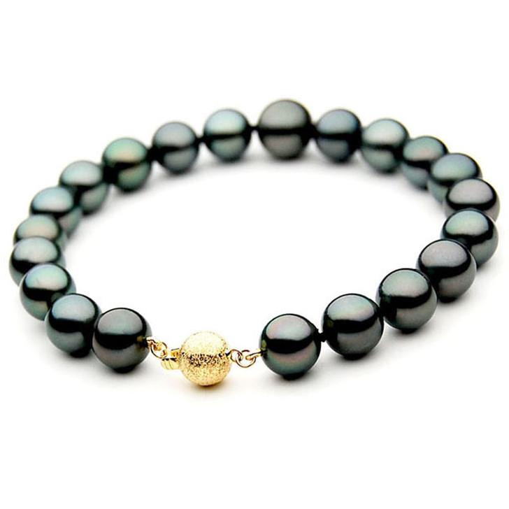 TB038 (AAA 9-11 mm Tahitian Black Pearl Bracelet  Yellow gold clasp 21cm )