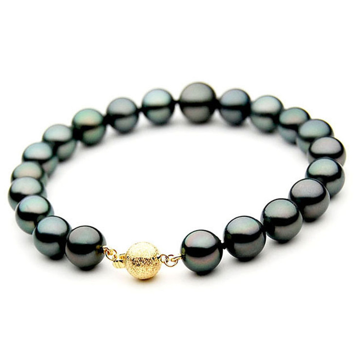 TB040 (AAA 10-12 mm Tahitian Black Pearl Bracelet  Yellow gold clasp 21cm )