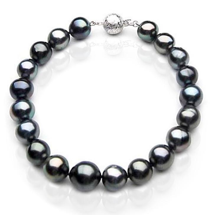 TB043 (AA 9-11 mm Tahitian Black Pearl Bracelet 18k White gold clasp 21cm )