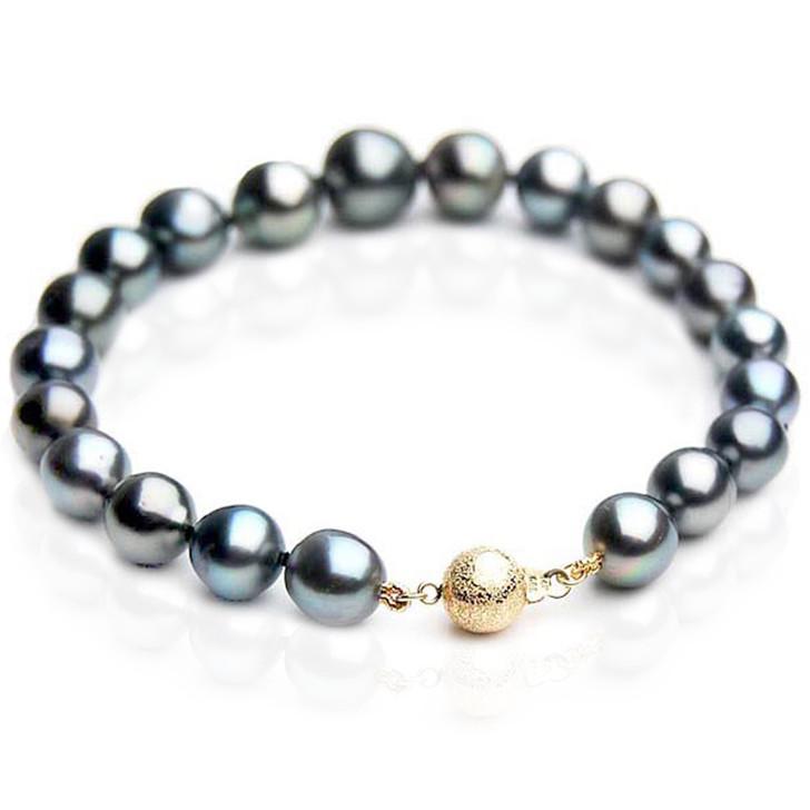 TB046 (AA 10-12 mm Tahitian Black Pearl Bracelet 18k Yellow gold clasp 18cm )