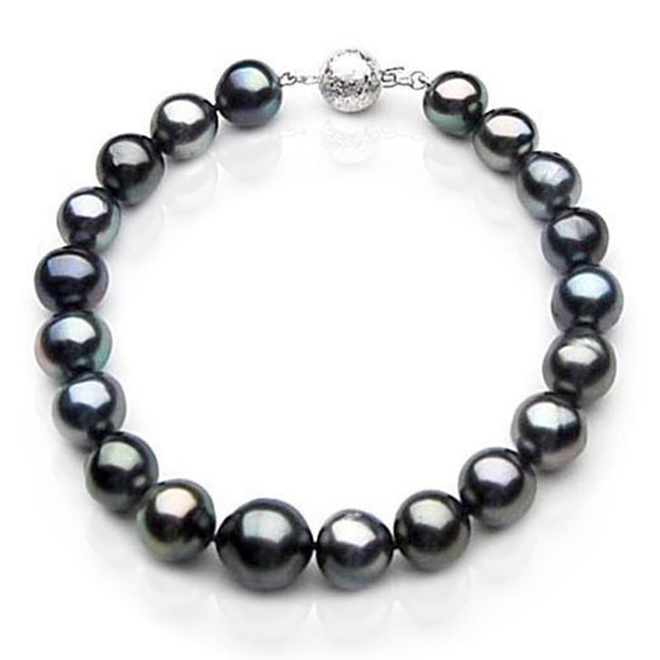 TB047 (AA 10-12 mm Tahitian Black Pearl Bracelet White gold clasp 21cm )