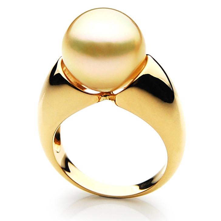 GR045 (AAA 13mm Australian Golden  South Sea Pearl Ring In 18k Gold)