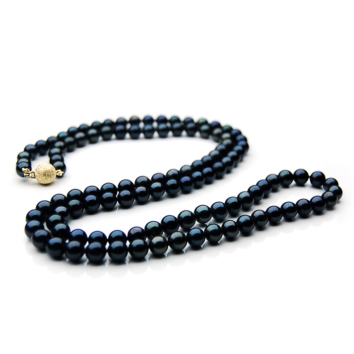AN046 (AAA 7-7.5mm Japanese Akoya Saltwater Black Pearl Necklace  gold clasp )