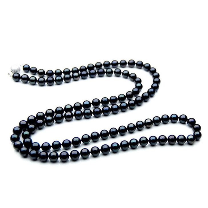AN047 (AAA 7-7.5mm Japanese Akoya Saltwater Black Pearl Necklace gold clasp)