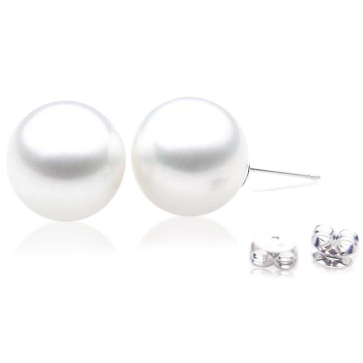 SE097  (AAA 14mm Australian South Sea Pearl Earrings in 18k White Gold)