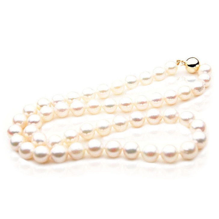 AN059 (AA 8-8.5 mm Japanese Akoya Saltwater Pearl Necklace  gold clasp )