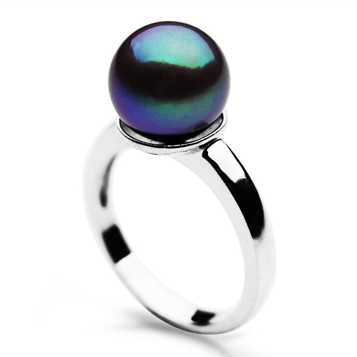 FR008 (AAA 9-10mm Black Freshwater Cultured Pearl Ring set in Silver)
