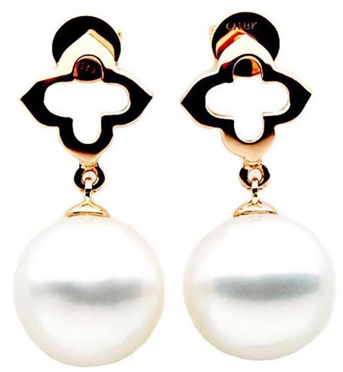 SE044c  (AAA 12mm Australian South Sea Pearl Earrings in 18k  Rose Gold)