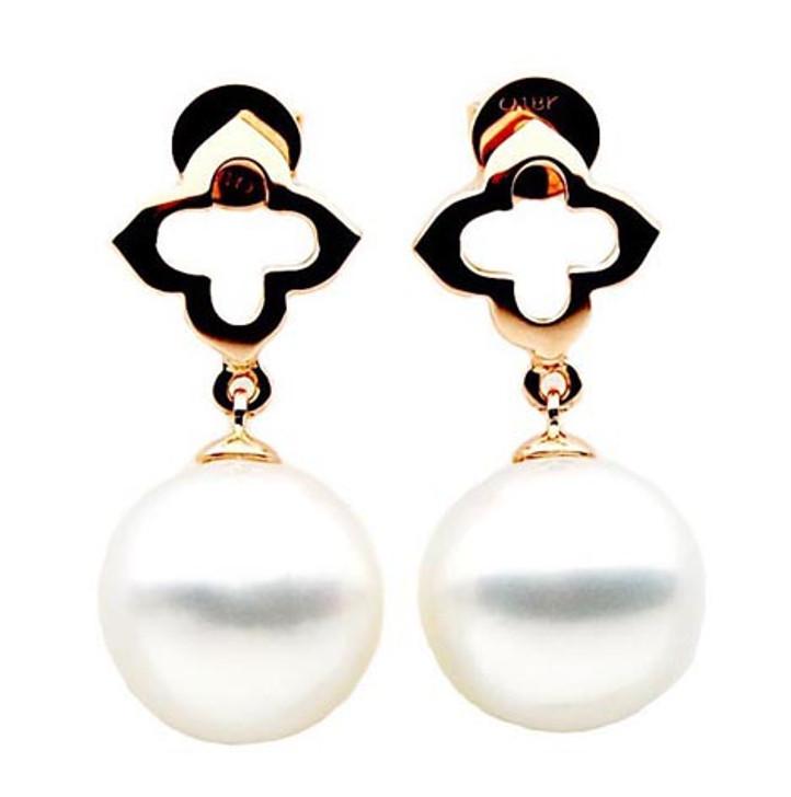 SE008c (AAA 11mm Australian South Sea Pearl Earrings in 18k Rose Gold)
