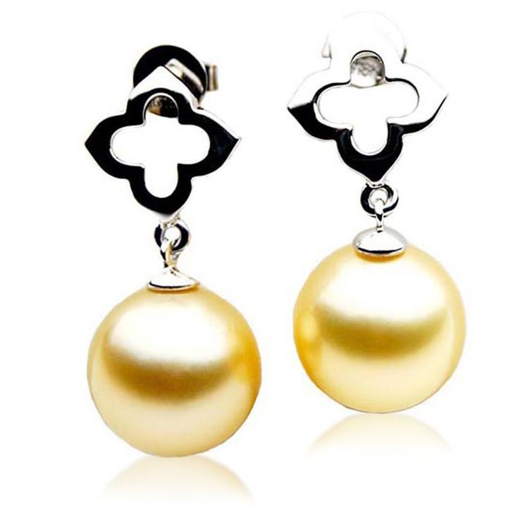 GE010a (AAA 11mm Australian Golden South Sea Pearl Earrings In 18K White  Gold)