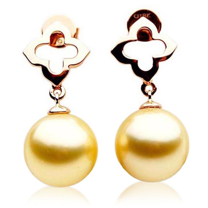 GE010c (AAA 11mm Australian Golden South Sea Pearl Earrings In Rose Gold)