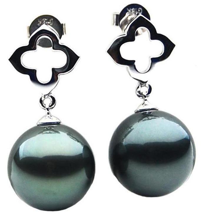 TE040a (AAA 12mm Tahitian Black Pearl Earrings In 18k white Gold )