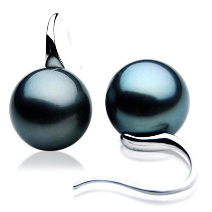 TE000c (AAA 10mm Tahitian Black Pearl Earrings In 18k White Gold )