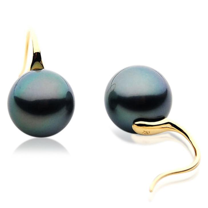 TE000d     AAA 10mm Tahitian Black Pearls In 18k Yellow Gold