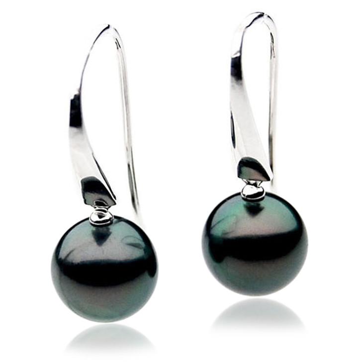 TE000e (AAA 10mm Tahitian Black Pearl Earrings In 18k White Gold )