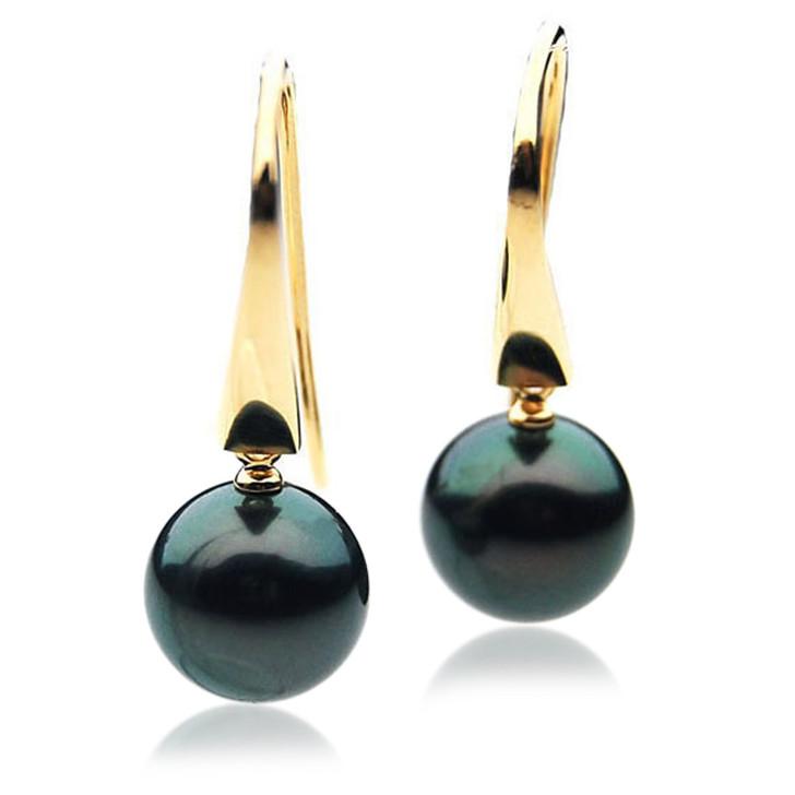 TE000f (AAA 10mm Tahitian Black Pearls In 18k Yellow Gold )