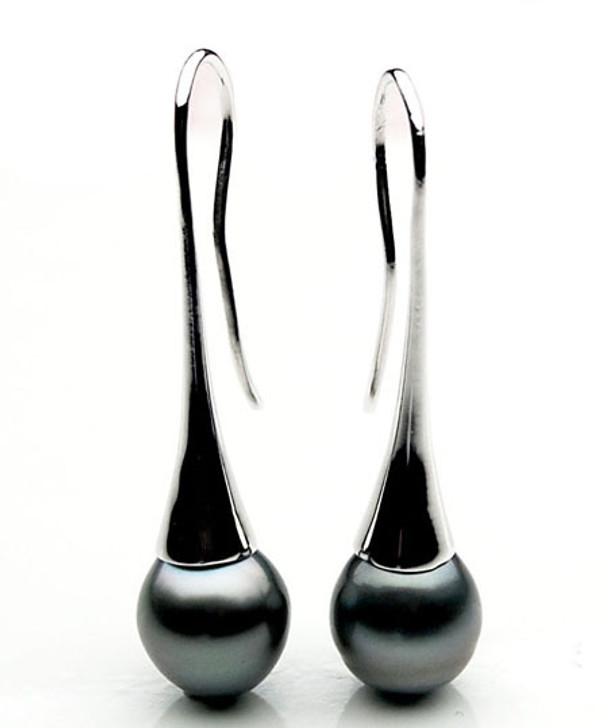 TE127 (AA 11mm Tahitian Black Pearl Earrings In Silver )