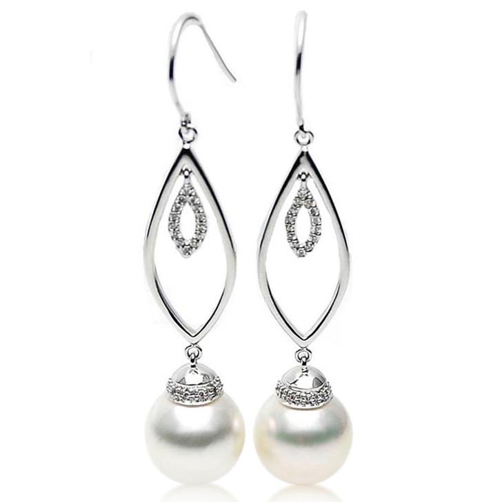 SE105  (AAA 14mm Australian South Sea Pearl Earrings Diamonds 18k White Gold)