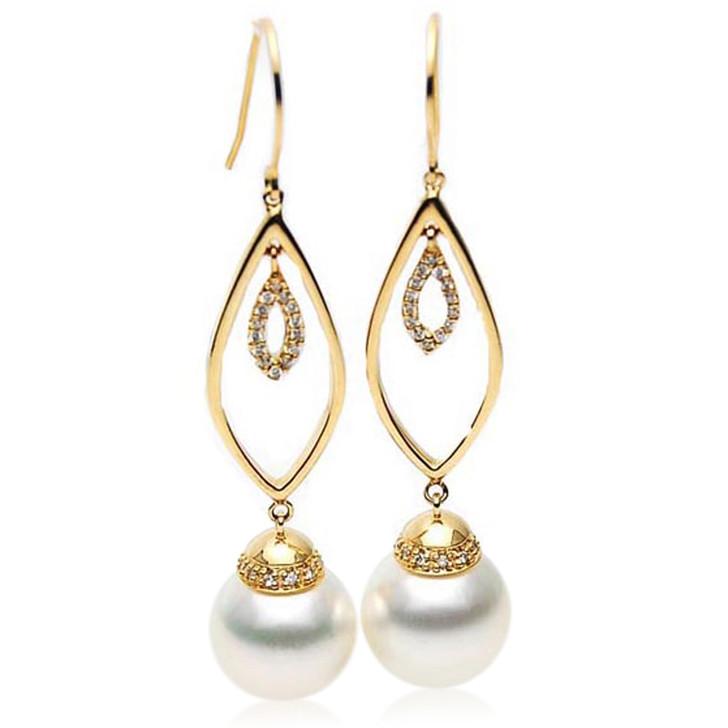 SE106  (AAA 14mm Australian South Sea Pearl Earrings Diamonds in 18k Gold)