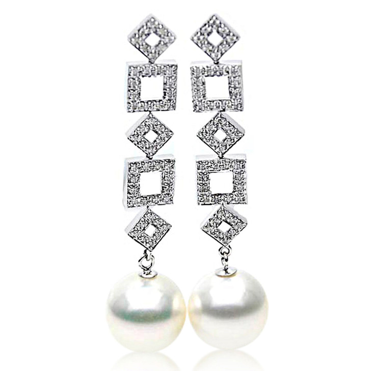 SE107   (AAA 14mm Australian South Sea Pearls Earrings Diamonds White Gold)