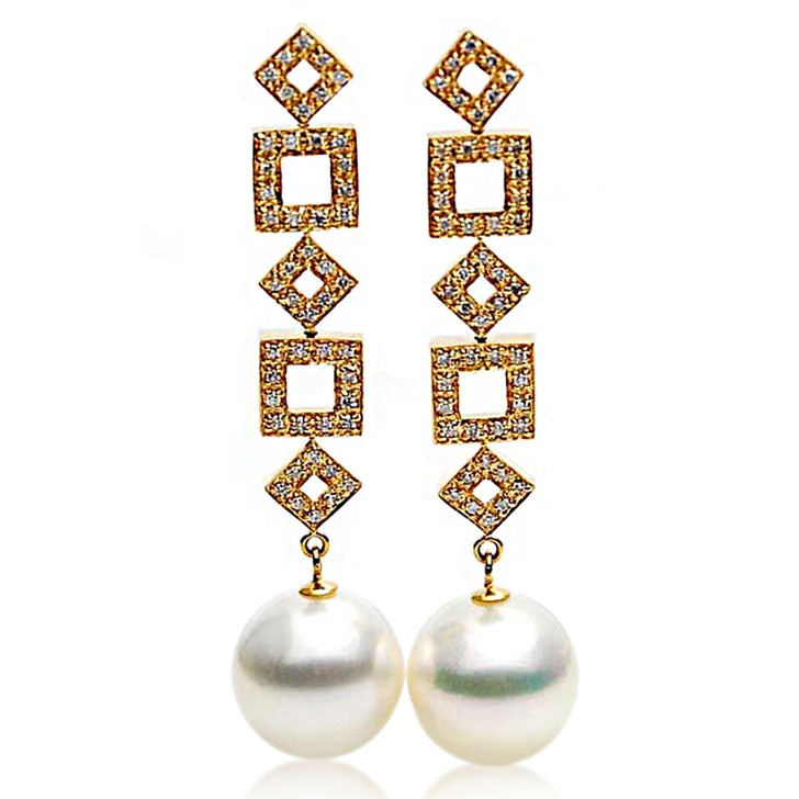 SE108  (AAA 14mm Australian South Sea Pearl Earrings Diamonds in 18k Gold)