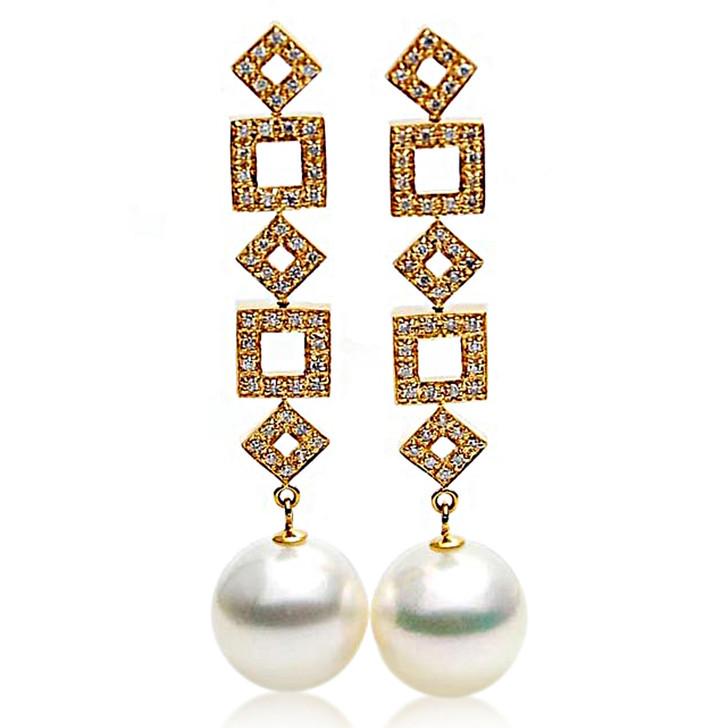 SE108  (AAA 14mm Australian South Sea Pearl Earrings Diamonds in 18k Gold)