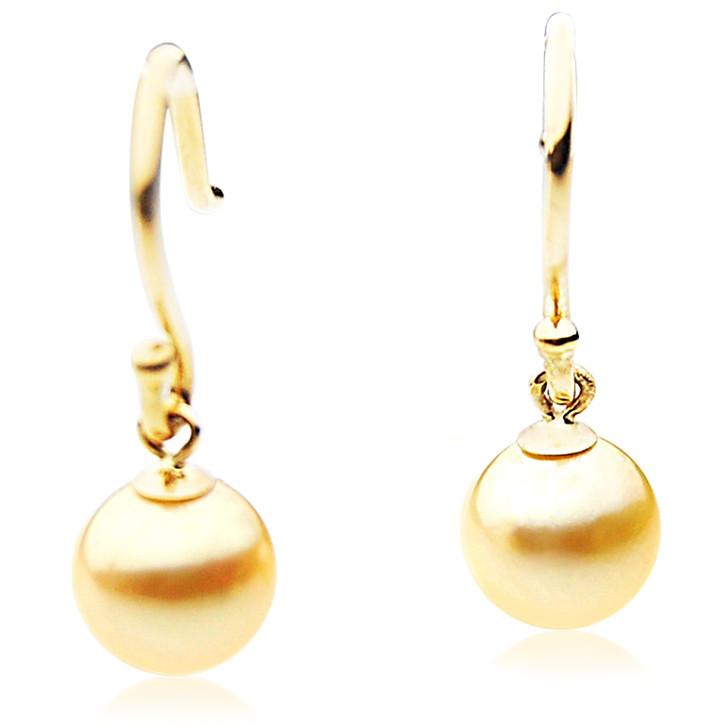 AE039b (AAA 8-8.5mm Golden Japanese Akoya Saltwater Pearl Earrings 18K Gold