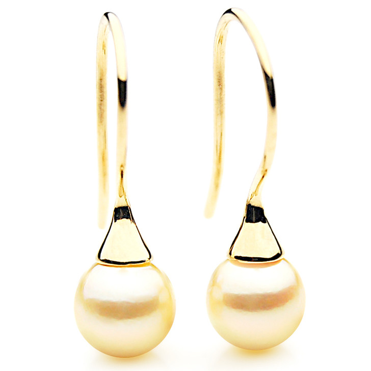 AE043b  (AAA 8-8.5mm Golden Japanese Akoya Saltwater Pearl Earrings 18K Gold