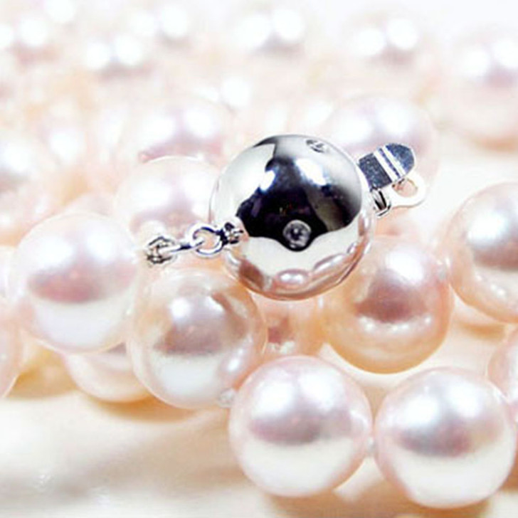 AN032a (AAA 8.5-9 mm Japanese Akoya Saltwater Pearl Necklace diamond clasp)