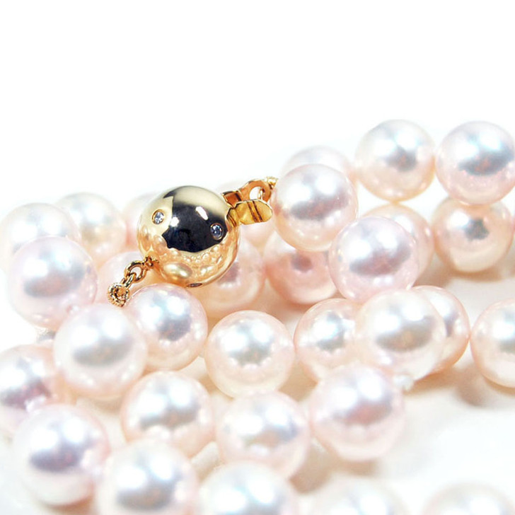 AN032b(AAA 8.5-9mm Japanese Akoya Saltwater Pearl Necklace  diamond clasp)