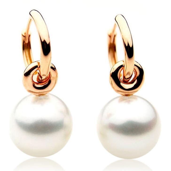SE046b (AAA 12mm Australian South Sea Pearl Earrings in 18k Yellow Gold)
