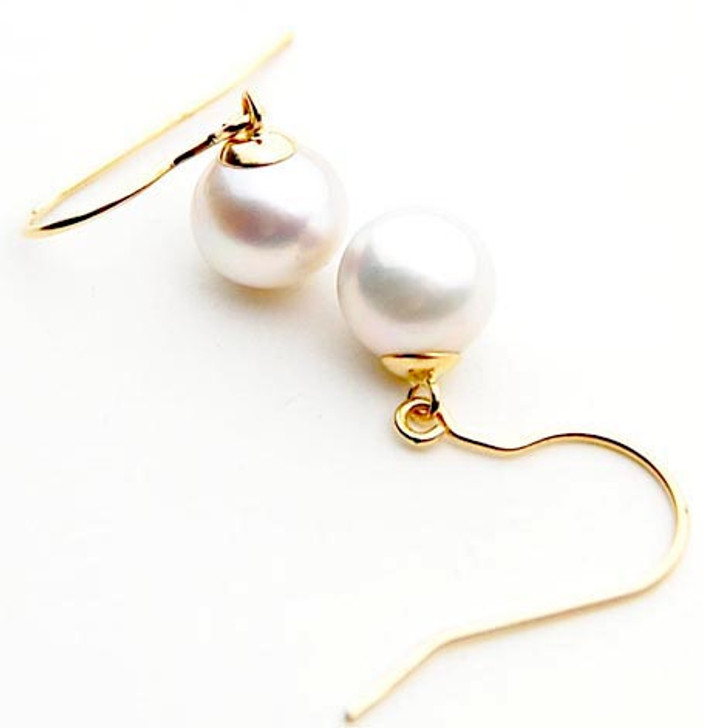 SE126 (AA 12mm Australian South Sea Pearl Earrings in 18k Gold)
