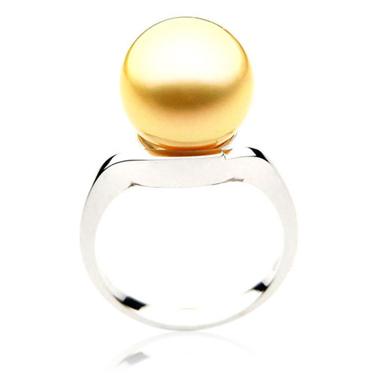 GR048 (AAA 14mm Australian Golden  South Sea Pearl Ring In 18k White Gold)