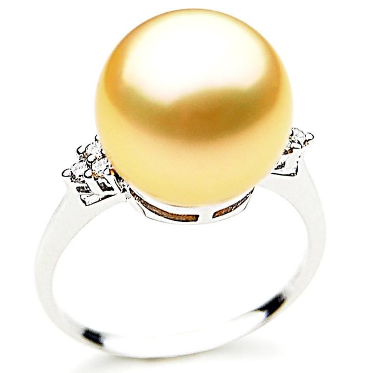 GR056(AAA 14mm Australian Golden  South Sea Pearl Diamond Ring 18k White Gold)
