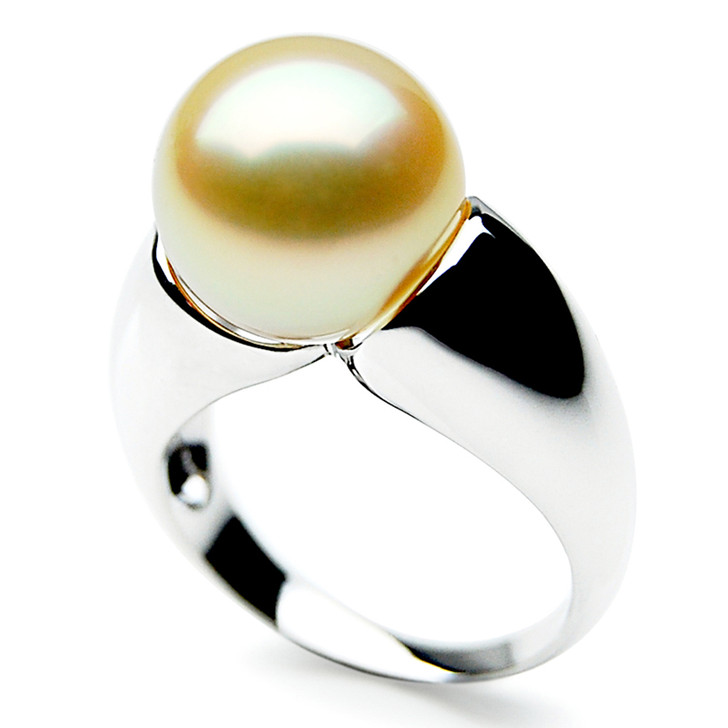 GR061 (AAA 14mm Australian Golden  South Sea Pearl Ring 18k White Gold)
