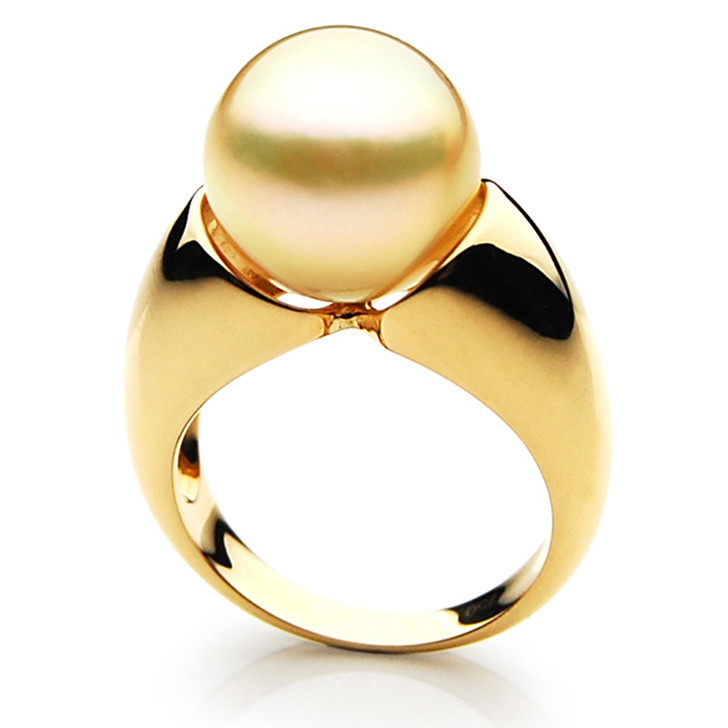 GR062 (AAA 14mm Australian Golden  South Sea Pearl Ring In 18k Gold)