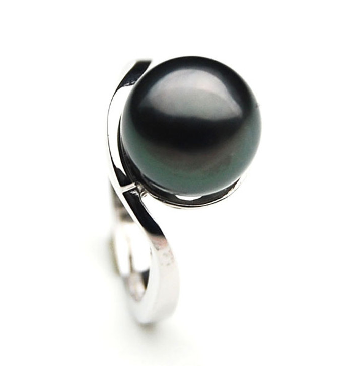 TR073a (AA 11mm Tahitian Black pearl Ring in Silver)