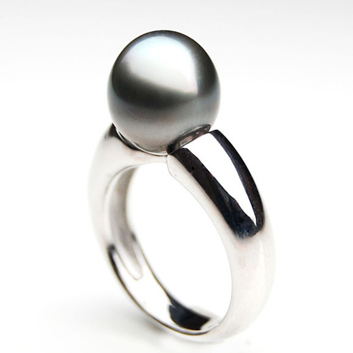 TR077 (AA 11mm Tahitian Grey  pearl Ring in Silver)