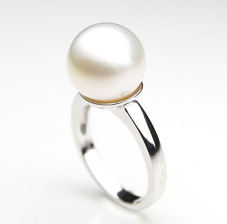 SR075 (AA 12mm Australian south sea White pearl Ring in Silver)