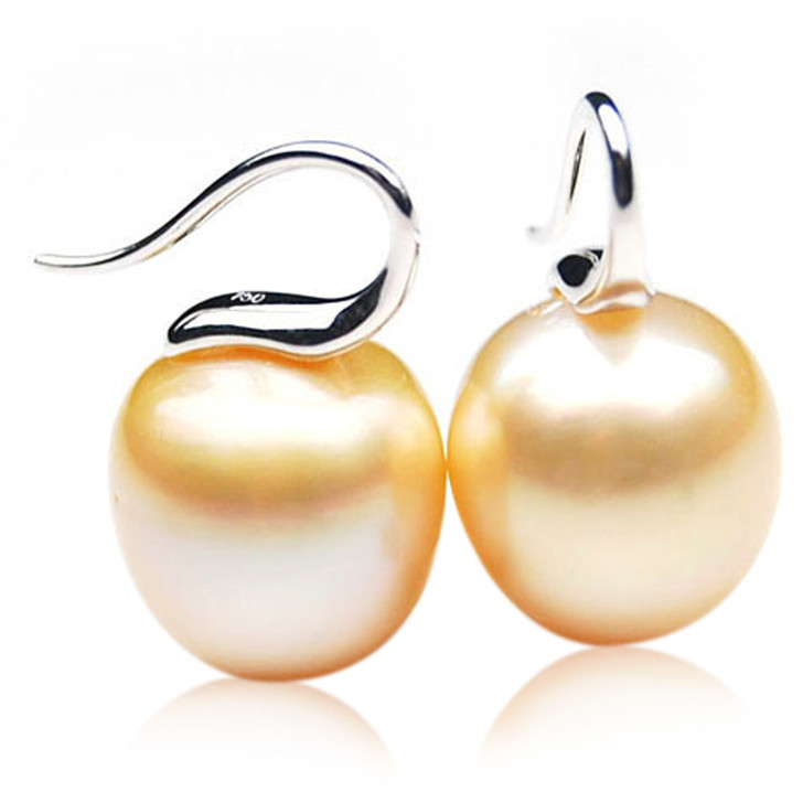 GE100 (AA+ 13mm Drop  Australian Golden South Sea Pearl Earrings In White Gold)