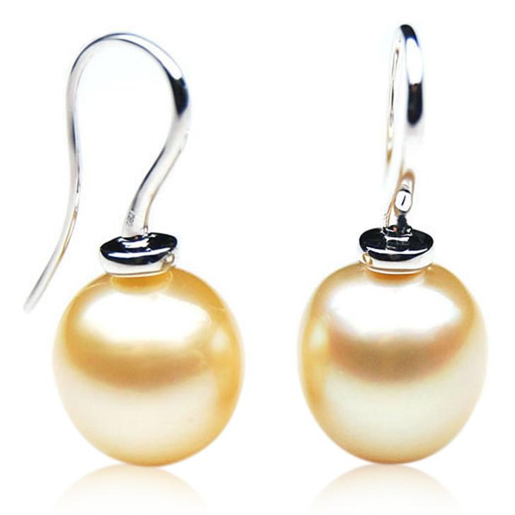 GE101 (AA+ 13mm Drop Australian Golden South Sea Pearl Earrings In White Gold)