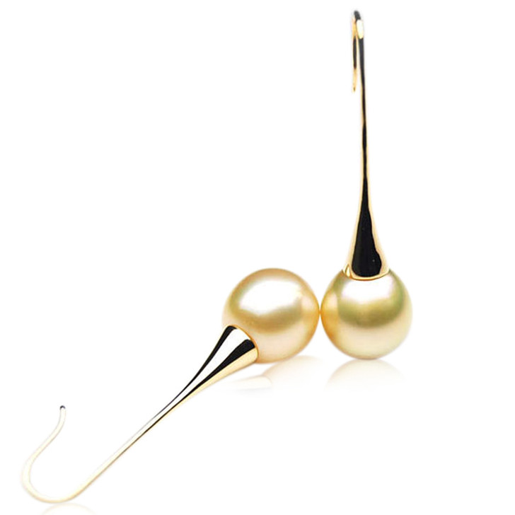 GE102 (AA+ 13mm Australian Golden South Sea Pearl Earrings In Gold)