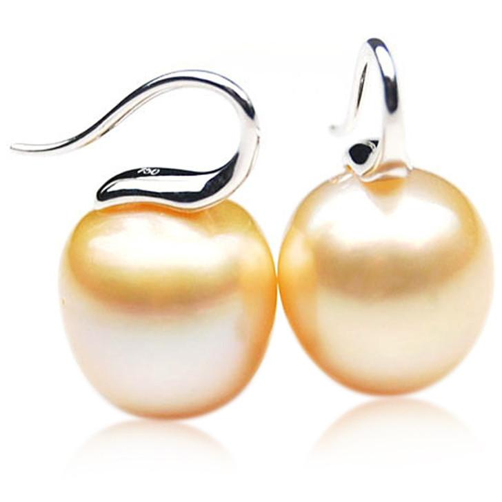 GE103 (AA+ 14mm Drop Australian Golden South Sea Pearl Earrings In White Gold)